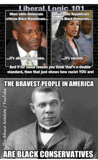 """America, Racism, and Tumblr: http://Lib  ogic10  LiberaLLogic 101  gIc  When white Democrats  criticise Black Republicans. criticize Black Democrats..  When white Republicans  ttp  CO  ra  ht  ttp  co  0  ra  ht  0  IC  ttp  Co  ra  tuit's about the issues.  ...it's racism.  ndifforsome-reason youthink-that'sadouble  standard, then that just shows how racist YOU are!  http://LiberalLogic101.com http://LiberalLogic10  0  THE BRAVEST PEOPLE IN AMERICA  ARE BLACK CONSERVATIVES <p><a href=""""http://obaminations.tumblr.com/post/46390948337/yes-the-democrats-and-liberals-dont-like-it-when"""" class=""""tumblr_blog"""">obaminations</a>:</p>  <blockquote><p>Yes, the Democrats and Liberals don't like it when Blacks don't want their 'Help'!</p></blockquote>"""