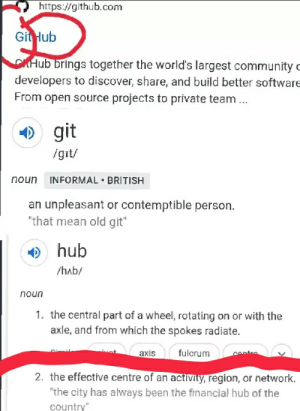"""Are you on GitHub?: https://github.com  Git Hub  CHub brings together the world's largest community c  developers to discover, share, and build better software  From open source projects to private team ...  ) git  igit/  INFORMAL • BRITISH  noun  an unpleasant or contemptible person.  """"that mean old git""""  O hub  /hab/  noun  1. the central part of a wheel, rotating on or with the  axle, and from which the spokes radiate.  fulcrum  axis  centre  2. the effective centre of an activity, region, or network.  """"the city has always been the financial hub of the  country"""" Are you on GitHub?"""