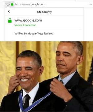 I too, believe in my self: https://www.google.com  <  Site Security  www.google.com  Secure Connection  Verified by: Google Trust Services I too, believe in my self