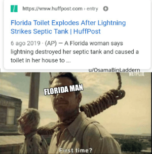 My first meme: https://www.huffpost.com entry  Florida Toilet Explodes After Lightning  Strikes Septic Tank | HuffPost  6 ago 2019 (AP) - A Florida woman says  lightning destroyed her septic tank and caused a  toilet in her house to ..  u/OsamaBinLaddern  NETFLIX  FLORIDA MAN  First time? My first meme