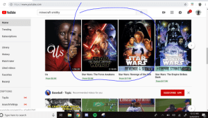 Baseball, Beer, and Empire: https://www.youtube.com  4  minecraft smithy  YouTube  +  Home  Trending  Subscriptions  Us  Library  History  μΤΑΡ.  WARS  EMPIRE STRIKESE  STAR  WARS  REVENGE E SITS  STAR  WARS  Watch later  THE FORCE AWAKENS  Liked videos  OF  THE  1:56:28  2:18:05  2:19:55  2:07:13  Star Wars: Revenge of the Sith  Star Wars: The Force Awakens  Star Wars: The Empire Strikes  Back  Us  Favorites  From $2.99  From $17.99  From $5.99  From $17.99  Bazanji  CRIPTIONS  X  Baseball - Topic Recommended videos for you  SUBSCRIBE 69K  ((e)  Top5s  Emiral&s FLY BETTER  AnarchYxNinja  1ST&  (()  10 CENT BEER NIGHT  RRIBLE IDEA  w.youtube.com/watch?v=-eYxeRJCYMY  Dedaers  12:12 AM  Type here to search  3  6/20/2019  Σ  I AHHH VICTORY
