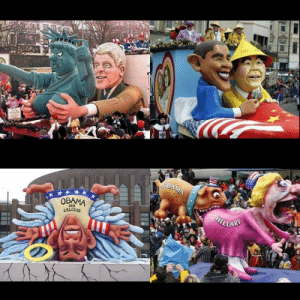 Floats in annual Carnival Parade in Germany Doesn't it make you so proud that the whole world is laughing at the U.S.A. ?: HU  OBAMA  OBAMA  HTLLARY  DER  ERLOSER Floats in annual Carnival Parade in Germany Doesn't it make you so proud that the whole world is laughing at the U.S.A. ?