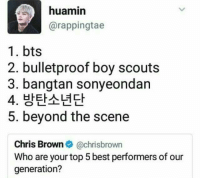Chris Brown, Best, and Bts: huamin  @rappingtae  1.bts  2. bulletproof boy scouts  3. bangtan sonyeondan  5. beyond the scene  Chris Brown@chrisbrown  Who are your top 5 best performers of our  generation? Bangtan boys