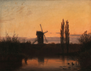 huariqueje:    Evening landscape with a mill   -   Godfred Christensen, 1864.Danish, 1845-1928Oil on canvas. 55 × 60 cm.  : huariqueje:    Evening landscape with a mill   -   Godfred Christensen, 1864.Danish, 1845-1928Oil on canvas. 55 × 60 cm.