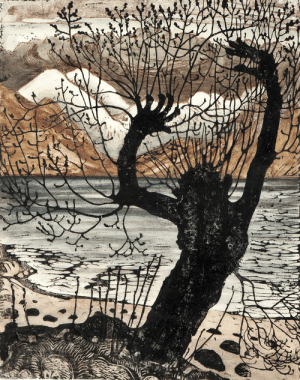 huariqueje:  Spring Night and Willow Goblin   -    Nikolai  Astrup Norwegian 1880-1928   Colour woodcut with hand colouring printed on heavy paper, 35x27   : huariqueje:  Spring Night and Willow Goblin   -    Nikolai  Astrup Norwegian 1880-1928   Colour woodcut with hand colouring printed on heavy paper, 35x27
