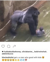 fresh thick af gorilla memes: hubbabubbahoney, oliviabaxter bobirwinshair,  adelevbuzza  blockedtoilet get u a man who good with kids  No 100 fresh thick af gorilla memes