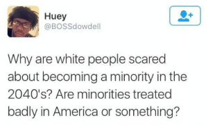 A Dream, America, and White People: Huey  @BOSSdowdell  Why are white people scared  about becoming a minority in the  2040's? Are minorities treated  badly in America or something? I have a dream