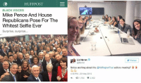 Huffington Post mocks Pence for being exclusive while they hire virtually nothing but white women. The left does NOT value diversity, like everything else, it's just another word to attack conservatives while neglecting to even practice what they preach.: HUFF POST  BLACK VOICES  Mike Pence And House  Republicans Pose For The  Whitest Selfie Ever  Surprise, surprise...  Liz Heron  Follow  @lheron  Notice anything about this @HuffingtonPost  editors meeting?  438 PM 20 May 2016  t 1.764 V2.352 Huffington Post mocks Pence for being exclusive while they hire virtually nothing but white women. The left does NOT value diversity, like everything else, it's just another word to attack conservatives while neglecting to even practice what they preach.
