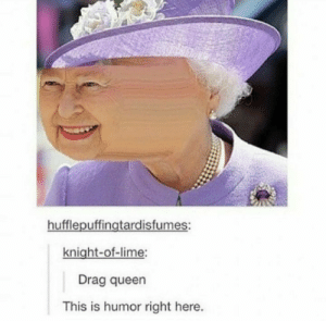 Drag queen: hufflepuffingtardisfumes:  knight-of-lime:  Drag queen  This is humor right here. Drag queen