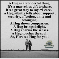 """Memes, Unity, and Marvelous: Hug is a wonderful thing.  It's a marvelous gift to share.  It's a great way to say, """"I care.""""  A Hug silently tells about support,  security, affection, unity and  belonging.  A Hug shows compassion.  A Hug brings delight.  A Hug charms the senses.  A Hug touches the soul.  So, Here's a Hug for you!  Undesstanding Understanding Compassion ❤️"""