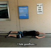 """Meme, Tumblr, and Home: HUG LEFT  CURB  WHEN  LEAVING  Ready Set. Home  I hate goodbyes.. <p>Just Do What The Signs Says.<br/><a href=""""http://daily-meme.tumblr.com""""><span style=""""color: #0000cd;""""><a href=""""http://daily-meme.tumblr.com/"""">http://daily-meme.tumblr.com/</a></span></a></p>"""