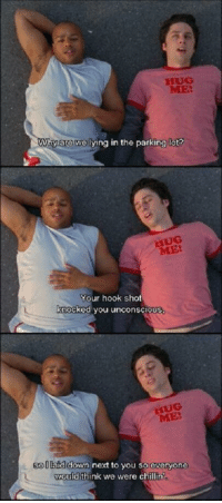 What a good friend via /r/wholesomememes http://bit.ly/2t2CnMn: HUG  ME  Why are we lying in the parking lot  ME  our hook shot  knocked you unconscioUS  ME  sollafd down next to you so everyone  ould think we were chillin  would it What a good friend via /r/wholesomememes http://bit.ly/2t2CnMn