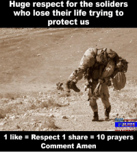 amen: Huge respect for the soliders  who lose their life trying to  protect us  1 like Respect 1 share 10 prayers  Comment Amen