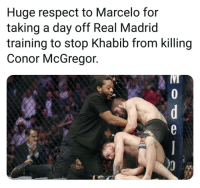 A Day Off: Huge respect to Marcelo for  taking a day off Real Madrid  training to stop Khabib from killing  Conor McGregor.