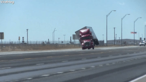 Semi, Huge, and Toy: Huge winds picked this semi truck up like a toy! 😮