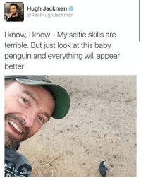 Memes, Selfie, and Hugh Jackman: Hugh Jackman  @RealHughJackman  I know, I know My selfie skills are  terrible. But just look at this baby  penguin and everything will appear  better 🤣Legendary