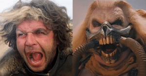 Hugh Keans-Byrne has played the lead antagonist in Mad Max films 36 years apart; Toecutter from 1979's Mad Max and Immortan Joe in 2015's Mad Max Fury Road.: Hugh Keans-Byrne has played the lead antagonist in Mad Max films 36 years apart; Toecutter from 1979's Mad Max and Immortan Joe in 2015's Mad Max Fury Road.