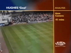 When Mark Hughes had a goal wrongly disallowed because it it came back off the sponsor boards.... https://t.co/faPBMZlKg5: HUGHES 'Goal  ANALYSIS  Main  Camera  41 mins  OTo  ATCH a When Mark Hughes had a goal wrongly disallowed because it it came back off the sponsor boards.... https://t.co/faPBMZlKg5