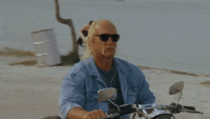 Hulk Hogan, Hulk, and Motorcycle: Hulk Hogan riding a motorcycle while a guy in the background throws a dog into the ocean