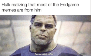 Memes, Trash, and Hulk: Hulk realizing that most of the Endgame  memes are from him  I was made forthis Professor hulk honestly was kinda trash in Endgame