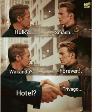 Club, Smashing, and Tumblr: Hulk?  Smash.  Eorever  Wakanda?  90  Trivago...  Hotel? laughoutloud-club:  Civil War 2