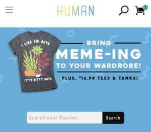 Clothes, Meme, and Search: HUMAN  1  I LIKE BIG BOYS  BRING  MEME-ING  TO YOUR WARDROBE!  PLUS, $16.99 TEES & TANKS!  ITTY BITTY BOYS  Search your Passion  Search I was just looking at lgbtq clothes and found this