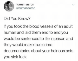 from twitter.com/humanaaron: human aaron  @humanaaron  Did You Know?  If you took the blood vessels of an adult  human and laid them end to end you  would be sentenced to life in prison and  they would make true crime  documentaries about your heinous acts  you sick fuck from twitter.com/humanaaron