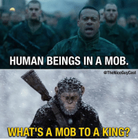 Bad, Memes, and Good: HUMAN BEINGS IN A MOE  @TheNiceGuyCast  WHAT'S A MOB TO A KING? War for the Planet of the Apes will have you shook. From beginning to end, it's just this intense and raw movie with so many powerful images. Both good and bad. [Like•Follow•Play•@TheNiceGuyCast]