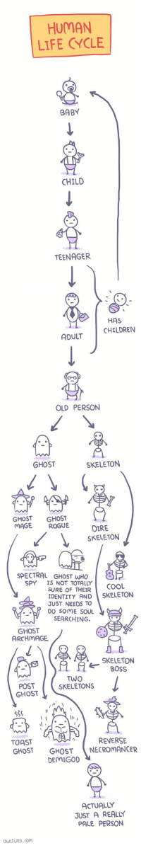 Life, Cool, and Ghost: HUMAN  LIFE CYCLE  BABY  CHILD  TEENAGER  HAS  CHILDRENN  ADULT  OLD PERSON  GHOST  SKELETON  GHOST GHOST  MAGE ROGUE  DIRE  SKELETON  SPECTRAL GHOST WHO  SPY IS NOT TOTALLY  SURE OF THEIR  COOL  IDENTITY AND SKELETON  JUST NEEDS TO  DO SOME SOUL  SEARCHING.  GHOST  ARCHMAGE  SKELETON  BOSS  POST  GHOST  TwO  SKELETONS  535  lle  TOAST  GHOST GHOSTNECROMANCER  REVERSE  DEMIGOD  ACTUALLY  JUST A REALLY  PALE PERSON  WLTURD.cOM
