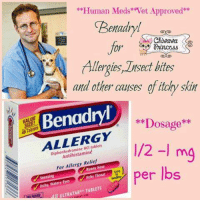 Kik, Memes, and Tablets: **Human Meds Vet Approved*  Benady!  Chiwawa  0in3  lergies, Lnsect bites  and other causes of itchy skin  SIZE  TabletsD  Benadry!  **Dosage*  kik  ALLERGY  Diphenhydramine HCI tablets  Antihistamine  mg  For Allergy Relief  per lbs  ltchy, Watery Eyes  ULTRATAB TABLETS for bug/bee bite swelling and itching