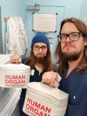 Halloween, Work, and Human: HUMAN  ORGAN  FOR TRANSPLANT  HUMAN  ORGA  FOR TRA My coworker came as me to work for Halloween