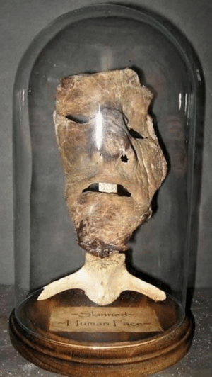 """Human skin mask created by serial killer Ed Gein, that is said to have inspired """"Leatherface"""" in 1974 horror movie The Texas Chain Saw Massacre.: Human skin mask created by serial killer Ed Gein, that is said to have inspired """"Leatherface"""" in 1974 horror movie The Texas Chain Saw Massacre."""