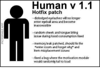 "Fail, Food, and Module: Human v 1.1  Hotfix patch  -dislodged eyelashes will no longer  enter eyeball area and become  inaccessible  0.  40  random cheek and tongue biting  issue during food consumption fixed  a.  memory leak patched, should fix the  ""enter room and forget why"" and  item misplacement issues  0.  ixed a bug where the motivation module  would randomly fail to load The update we all deserve"