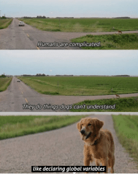 Dogs, Don, and Like: Humans are complicated  Theydo things dogs cant understand  like declaring global variables Yup. We dont deserve dogs