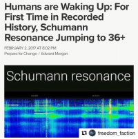 """Repost @freedom_faction with @repostapp ・・・ On 1-31-2017, for the first time in recorded history, the SchumannResonance has reached frequencies of 36+. This is a big deal. In 2014, it was considered anomalous for the frequency to have risen from it's usual 7.83 frequency to somewhere in the 15-25 levels. Now it is spiking at well over 30 for the past two days. The Schumann Resonances """"are a set of spectrum peaks in the extremely low frequency (ELF) portion of the Earth's electromagnetic field spectrum. Schumann resonances are global electromagnetic resonances, generated and excited by lightning discharges in the cavity formed by the Earth's surface and the ionosphere."""" It has long been suspected that humanconsciousness can impact the magnetic field and create disturbances in it, particularly during moments of high anxiety, tension and passion. According to the above article, """"As human beings we have extraordinary potentials we have hardly begun to study much less understand. Creative gifts, intuitions, and talents that are unpredictable or emergent may become stabilized in generations to come. Hopefully, we can learn to understand both our emergence from an essentially electromagnetic environment and facilitate our potential for healing, growth and non-local communication."""" Many have been reporting the feeling that time has been speeding up. Could the increased frequencies have something to do with this? """"For many years this resonance frequency has hovered at a steady 7.83 Hz with only slight variations. In June 2014 that apparently changed. Monitors at the Russian Space Observing System showed a sudden spike in activity to around 8.5 Hz. Since then, they have recorded days where the Schumann accelerated as fast as 16.5 Hz. (The graph is usually blue with some green, and no white.) At first they thought their equipment was malfunctioning, but later learned the data was accurate. Everyone was asking, what's causing this intermittent spiking activity?"""" ✋🏾More in comme"""