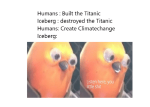 I feel with the iceberg: Humans : Built the Titanic  Iceberg : destroyed the Titanic  Humans: Create Climatechange  Iceberg:  Listen here, you  little shit I feel with the iceberg