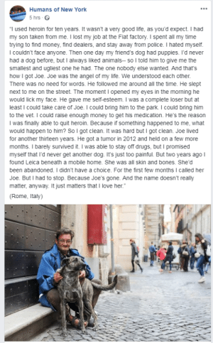"i thought this belonged here a very wholesome story: Humans of New York  5 hrs  ""I used heroin for ten years. It wasn't a very good life, as you'd expect. I had  my son taken from me. I lost my job at the Fiat factory. I spent all my time  trying to find money, find dealers, and stay away from police. I hated myself.  I couldn't face anyone. Then one day my friend's dog had puppies. I'd never  had a dog before, but I always liked animals- so I told him to give me the  smallest and ugliest one he had. The one nobody else wanted. And that's  how I got Joe. Joe was the angel of my life. We understood each other.  There was no need for words. He followed me around all the time. He slept  next to me on the street. The moment I opened my eyes in the morning he  would lick my face. He gave me self-esteem. I was a complete loser but at  least I could take care of Joe. I could bring him to the park. I could bring him  to the vet. I could raise enough money to get his medication. He's the reason  I was finally able to quit heroin. Because if something happened to me, what  would happen to him? So I got clean. It was hard but I got clean. Joe lived  for another thirteen years. He got a tumor in 2012 and held on a few more  months. I barely survived it. I was able to stay off drugs, but I promised  myself that I'd never get another dog. It's just too painful. But two years ago I  found Leica beneath a mobile home. She was all skin and bones. She'd  been abandoned. I didn't have a choice. For the first few months I called her  Joe. But I had to stop. Because Joe'ss gone. And the name doesn't really  matter, anyway. It just matters that I love her.""  (Rome, Italy) i thought this belonged here a very wholesome story"