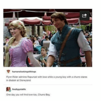 Disneyland, Ironic, and Rapunzel: humanslookingatthings  Flynn Rider admires Rapunzel with love while a young boy with a churro stares  in disdain at Disneyland  finally gotalife  One day you willfind love too. Churro Boy.
