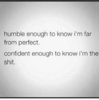 im the shit: humble enough to know i'm far  from perfect.  confident enough to know i'm the  shit.