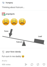 Cum, Nsfw, and Tumblr: hungwy  Thinking about fulcrum...  angxlguts  Force  Load  Fulcrum  your-fave-dandy  Ful-cum in me daddy  #nsfw  408 notes awesomacious:  F U L C R U M