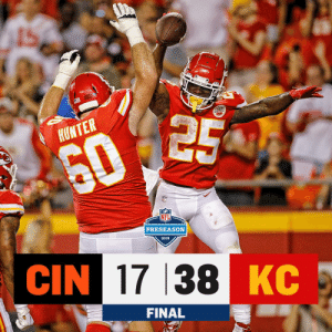 Memes, Chiefs, and 🤖: HUNTER  602  PRESEASON  2019  CIN 17 38 KC  FINAL FINAL: @Chiefs start off the preseason with a win! #CINvsKC https://t.co/V5F57c6SYL