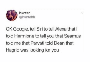 Dank, Google, and Hermione: hunter  @huntahh  OK Google, tell Siri to tell Alexa that I  told Hermione to tell you that Seamus  told me that Parvati told Dean that  Hagrid was looking for you meirl by ashish-ji MORE MEMES