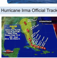 If it comes to Michigan I'm dead 😂: Hurricane Irma Official Track  2PM Tue  S: 45m STORMTRACK  HURRICANE  RMA  Advisory Time: Thu 8 PM  Lat:21.1N Lon:71.8W  Winds: 175 mph  Pressure: 919mb/27.14  WNW 16mph  630 mi. ESE of Miami, FL  4  myFOX HURRICANE If it comes to Michigan I'm dead 😂