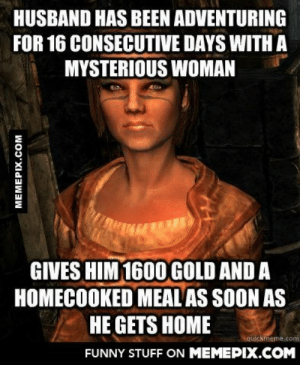 Skyrim wives are the best.omg-humor.tumblr.com: HUSBAND HAS BEEN ADVENTURING  FOR 16 CONSECUTIVE DAYS WITH A  MYSTERIOUS WOMAN  GIVES HIM 1600 GOLD AND A  HOMECOOKED MEAL AS SOON AS  HE GETS HOME  quickmeme.com  FUNNY STUFF ON MEMEPIX.COM  MEMEPIX.COM Skyrim wives are the best.omg-humor.tumblr.com