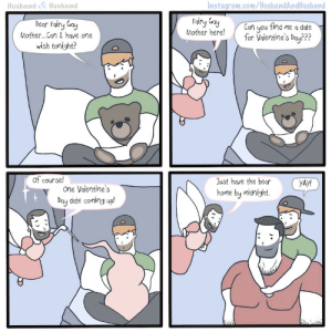 """husbandandhusbandcomic:  HusbandHusband""""My Husband's Friend Gets A Valentine!""""Instagram 