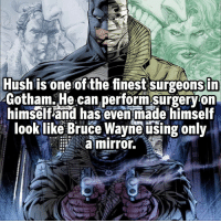 Favorite DC villain? Follow @marvelousfacts: Hush is one of the finest surgeonsin  Gotham. He can performsurgeryon  himself and has even made himself  look like Bruce Wayne using only  a mirror. Favorite DC villain? Follow @marvelousfacts