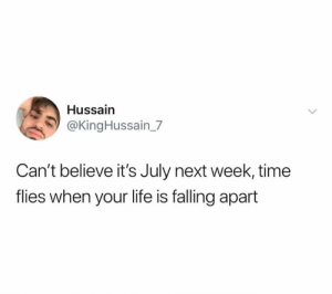 Falling Apart: Hussain  @KingHussain_7  Can't believe it's July next week, time  flies when your life is falling apart