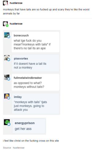 """monky: hustlerose  monkeys that have tails are so fucked up and scary they're like the worst  animals by far  hustlerose  bonecouch  what tge fuck do you  mean""""monkeys with tails"""" if  there's no tail its an ape  pissvortex  if it doesnt have a tail its  not a monkey  fullmetalwindbreaker  as opposed to what?  monkeys without tails?  imlizy  """"monkeys with tails"""" tjats  just monkeys. going to  attack you  energyprison  get her ass  i feel like christ on the fucking cross on this site  Source: hustlerose monky"""
