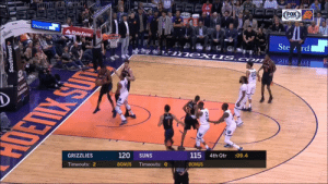 Memphis Grizzlies, Memes, and Game: HX  SOT  Steward  State Farm  115 4th Qtr :09.4  120 SUNS  BONUS Timeouts: O  GRIZZLIES  BONUS  Timeouts: 2 The Grizzlies didn't want Devin Booker to get his 3rd straight 50-PT game.   (Via @TheRenderNBA)  https://t.co/5azwuW0Bl9