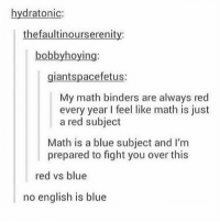 math is blue. english is like a weirder color: hydratonic:  thefaultinourserenity:  bobbyhoying:  giantspacefetus:  My math binders are always red  every year feel like math is just  a red subject  Math is a blue subject and I'm  prepared to fight you over this  red vs blue  no english is blue math is blue. english is like a weirder color